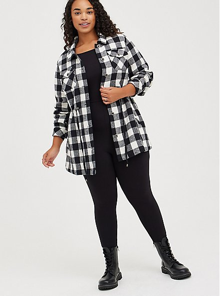 Shacket - Brushed Cotton Plaid Black & White, PLAID - BLACK, alternate