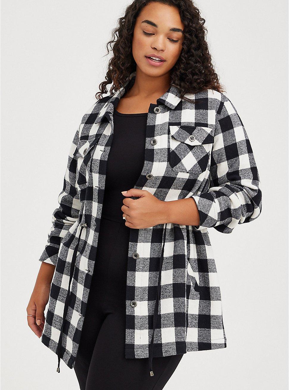 Shacket - Brushed Cotton Plaid Black & White, PLAID - BLACK, hi-res