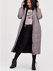 Plus Size Longline Fit & Flare Puffer Coat - Twill Grey , SILVER FILAGREE, alternate