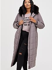 Plus Size Longline Fit & Flare Puffer Coat - Twill Grey , SILVER FILAGREE, hi-res