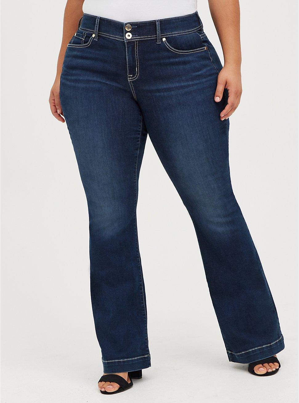 Plus Size Mid Rise Flare Jean - Super Soft Dark Wash, LUNATION, hi-res