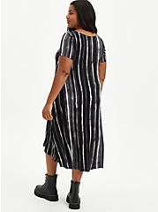 Black Stripe Tie Dye Super Soft Hi-Low A-Line Dress, STRIPED TIE DYE, alternate