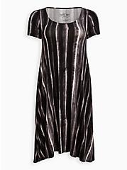 Black Stripe Tie Dye Super Soft Hi-Low A-Line Dress, STRIPED TIE DYE, hi-res