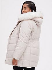 Plus Size Fit & Flare Puffer Jacket - Fur Nylon Grey & Birch , CHATEAU GRAY, alternate