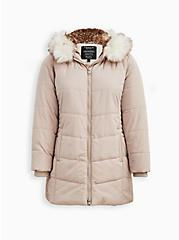 Plus Size Fit & Flare Puffer Jacket - Fur Nylon Grey & Birch , CHATEAU GRAY, hi-res