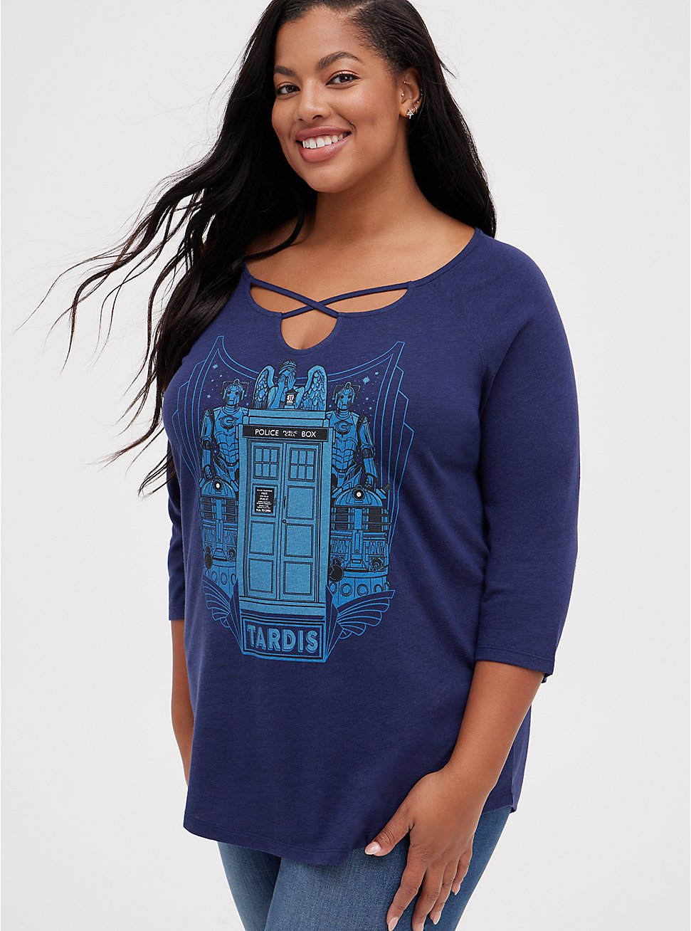 Strappy Notch Top - Her Universe Dr. Who , PEACOAT, hi-res