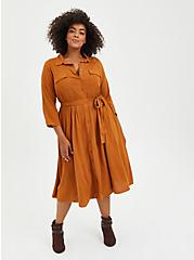 Belted Midi Shirt Dress - Textured Stretch Rayon Light Brown, ROASTED PECAN, hi-res