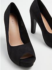 Platform Peep Toe Heel - Black Faux Suede (WW), BLACK, alternate