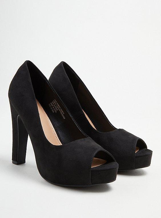 Platform Peep Toe Heel - Black Faux Suede (WW), BLACK, hi-res