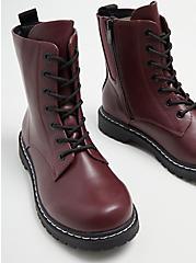 Stevie - Burgundy Faux Leather Chunky Combat Boot (WW), BURGUNDY, alternate