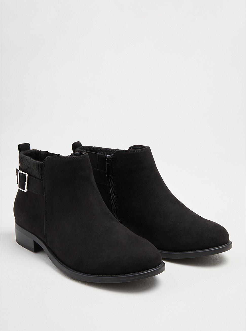 Plus Size Sweater Bootie - Black Faux Suede (WW), BLACK, hi-res