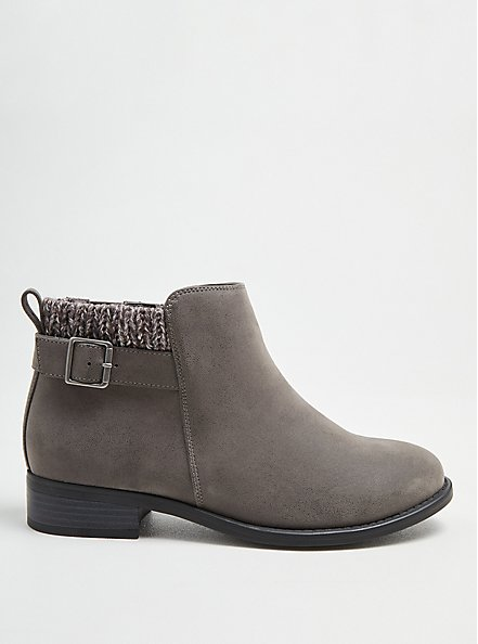 Sweater Bootie - Grey Faux Suede (WW), GREY, alternate