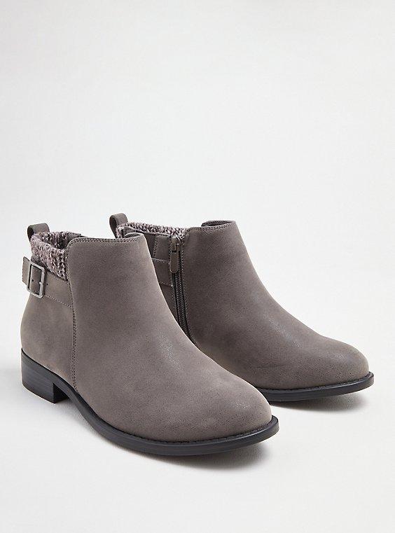 Sweater Bootie - Grey Faux Suede (WW), GREY, hi-res