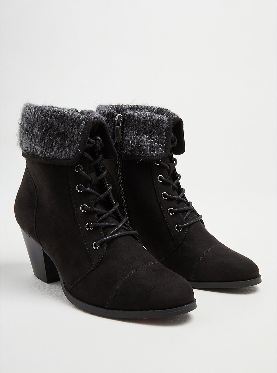 Sweater Heel Bootie - Black Faux Suede (WW), BLACK, hi-res