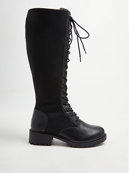 Plus Size Stretch Knit Combat Knee Boot - Black Faux Leather (WW), BLACK, alternate