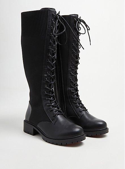Plus Size Stretch Knit Combat Knee Boot - Black Faux Leather (WW), BLACK, hi-res