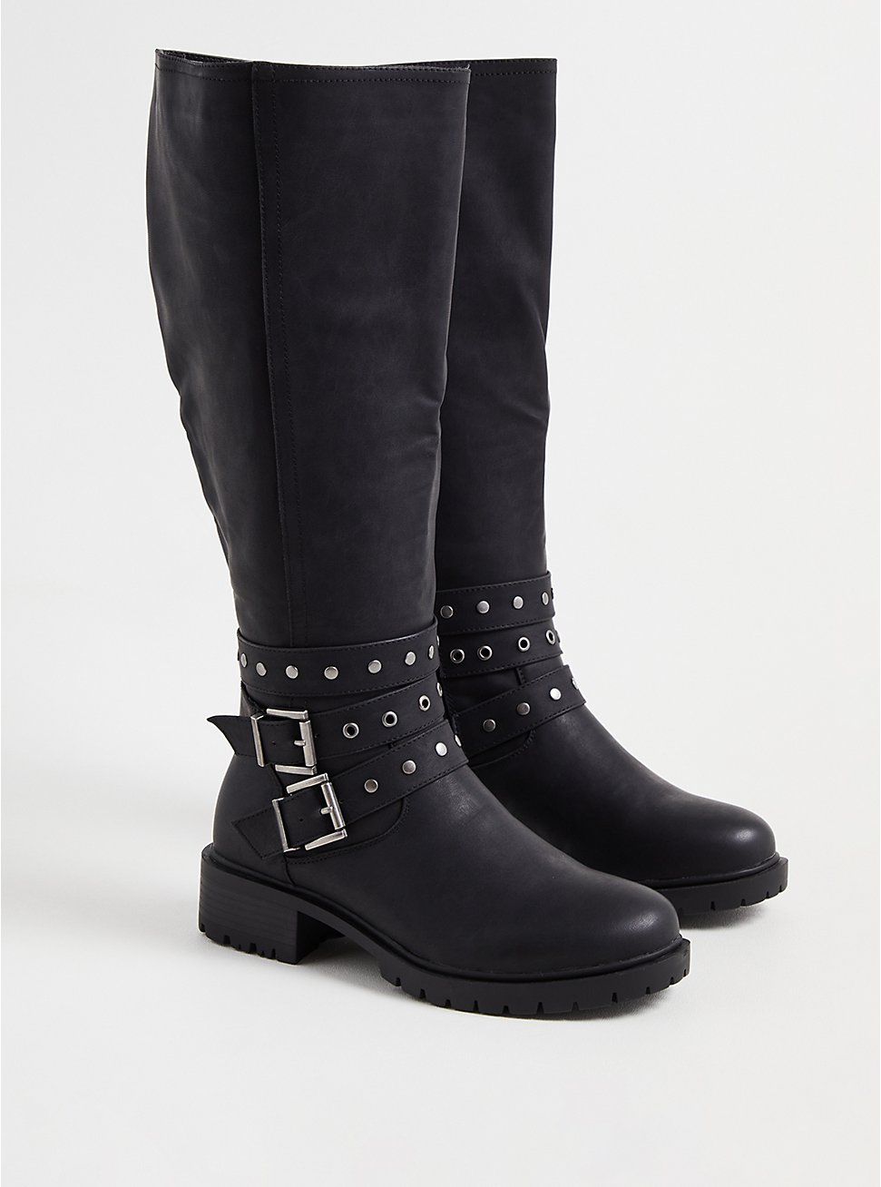 Studded Wrap Knee Boot - Black Faux Leather (WW), BLACK, hi-res