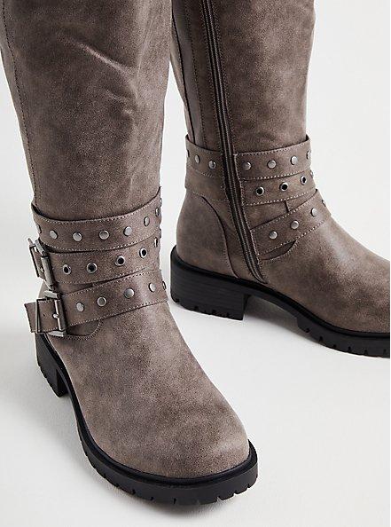 Studded Wrap Knee Boot - Grey Faux Leather (WW), GREY, alternate