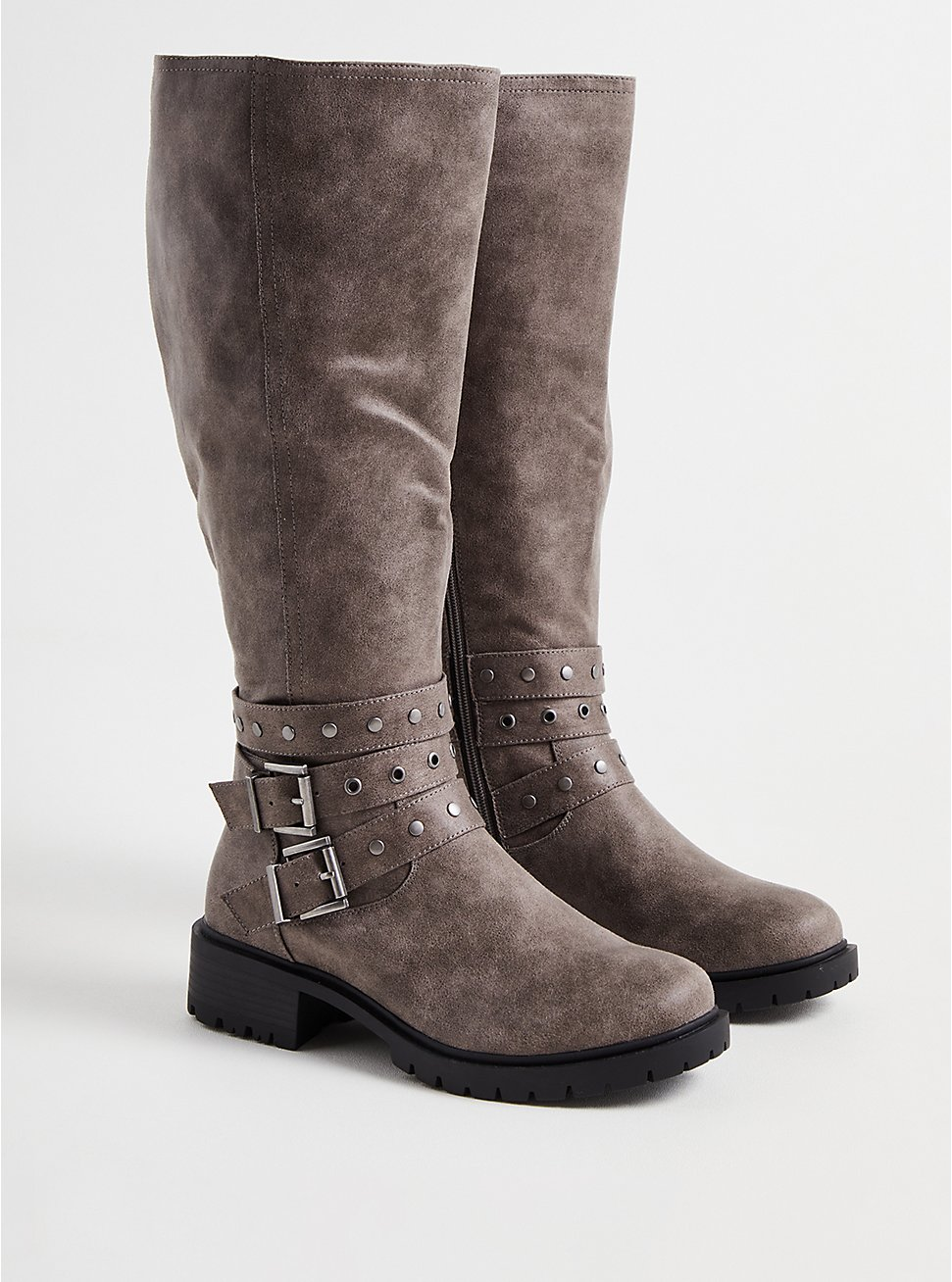 Studded Wrap Knee Boot - Grey Faux Leather (WW), GREY, hi-res