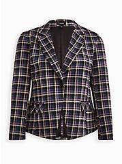 Plus Size Double Knit Blazer - Plaid Purple, PLAID - PURPLE, hi-res