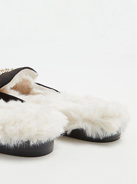 Plus Size Fur Lined Mule - Black Faux Suede (WW), BLACK, alternate