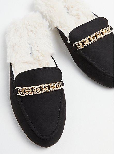 Plus Size Fur Lined Mule - Black Faux Suede (WW), BLACK, hi-res
