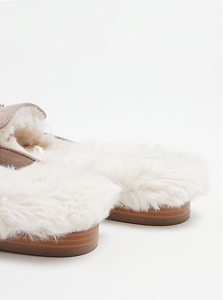 Fur Lined Mule - Grey Faux Suede (WW), TAUPE, alternate
