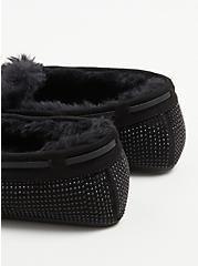 Embellished Bow Fur Slipper - Black(WW), BLACK, alternate