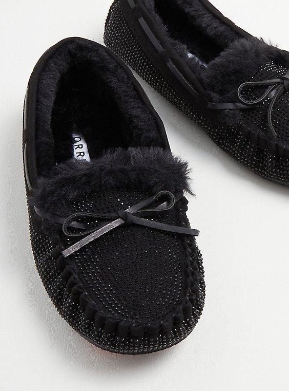 Embellished Bow Fur Slipper - Black(WW), BLACK, hi-res
