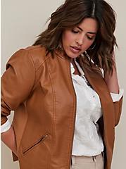 Moto Jacket - Faux Leather Cognac, COGNAC, alternate