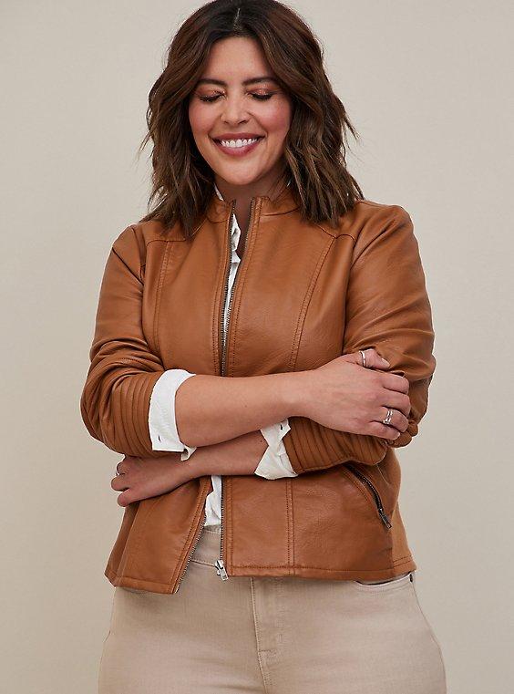 Moto Jacket - Faux Leather Cognac, COGNAC, hi-res