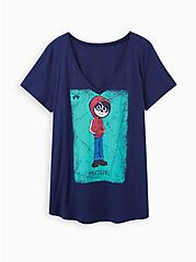 Plus Size Disney Coco Girlfriend Top - Miguel Card Blue, PEACOAT, hi-res