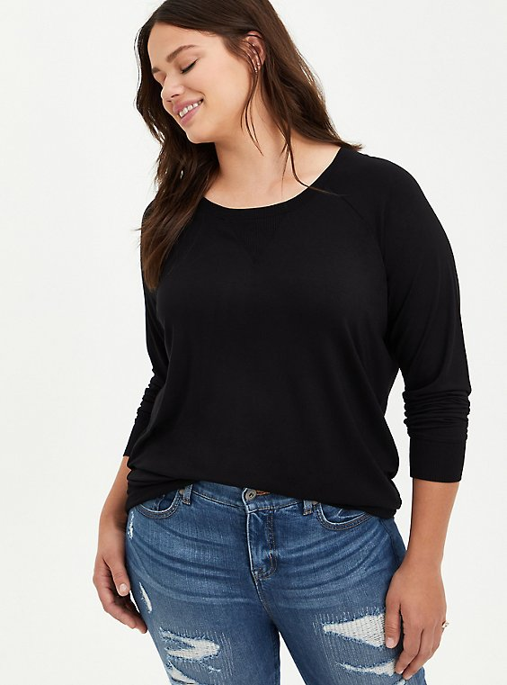 Raglan Top - Super Soft Black, DEEP BLACK, hi-res