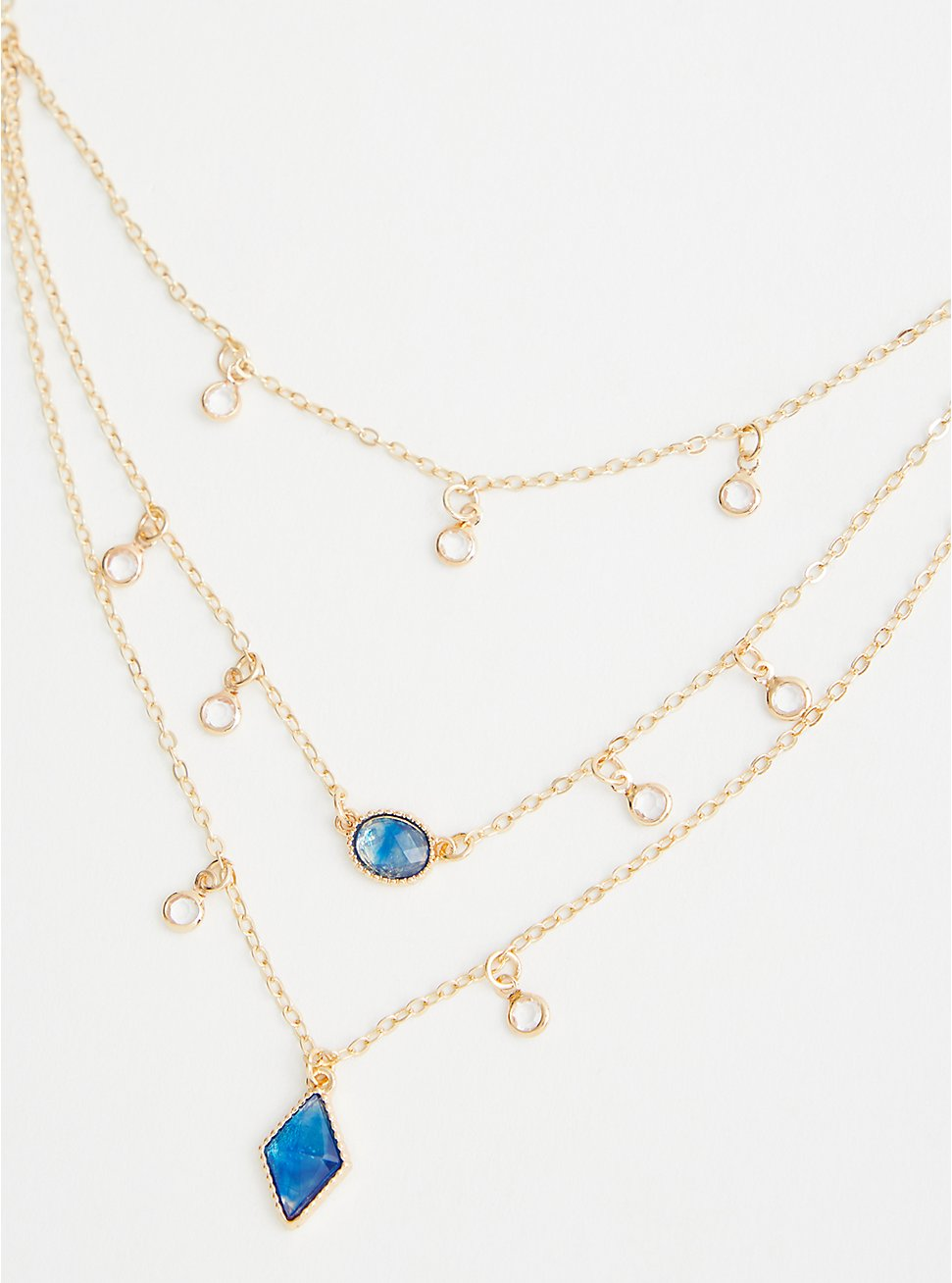 Ocean Blue Stones Layered Necklace - Gold Tone, , hi-res