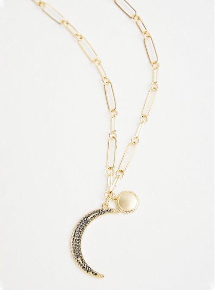 Plus Size Link Moon Pave Pendant Necklace - Gold Tone, , alternate
