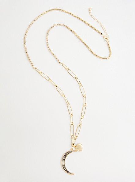 Plus Size Link Moon Pave Pendant Necklace - Gold Tone, , hi-res