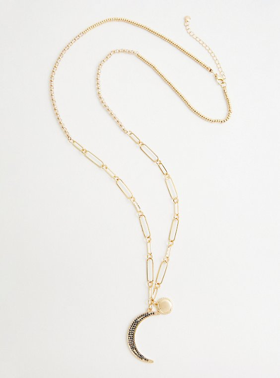 Link Moon Pave Pendant Necklace - Gold Tone, , hi-res