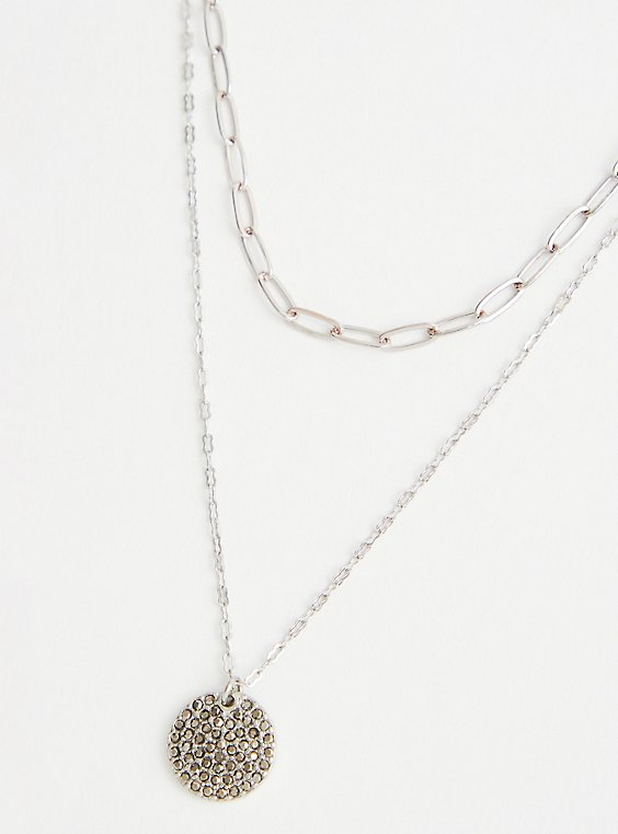 Two Row Link Necklace With Pave Disk - Silver Tone, , hi-res