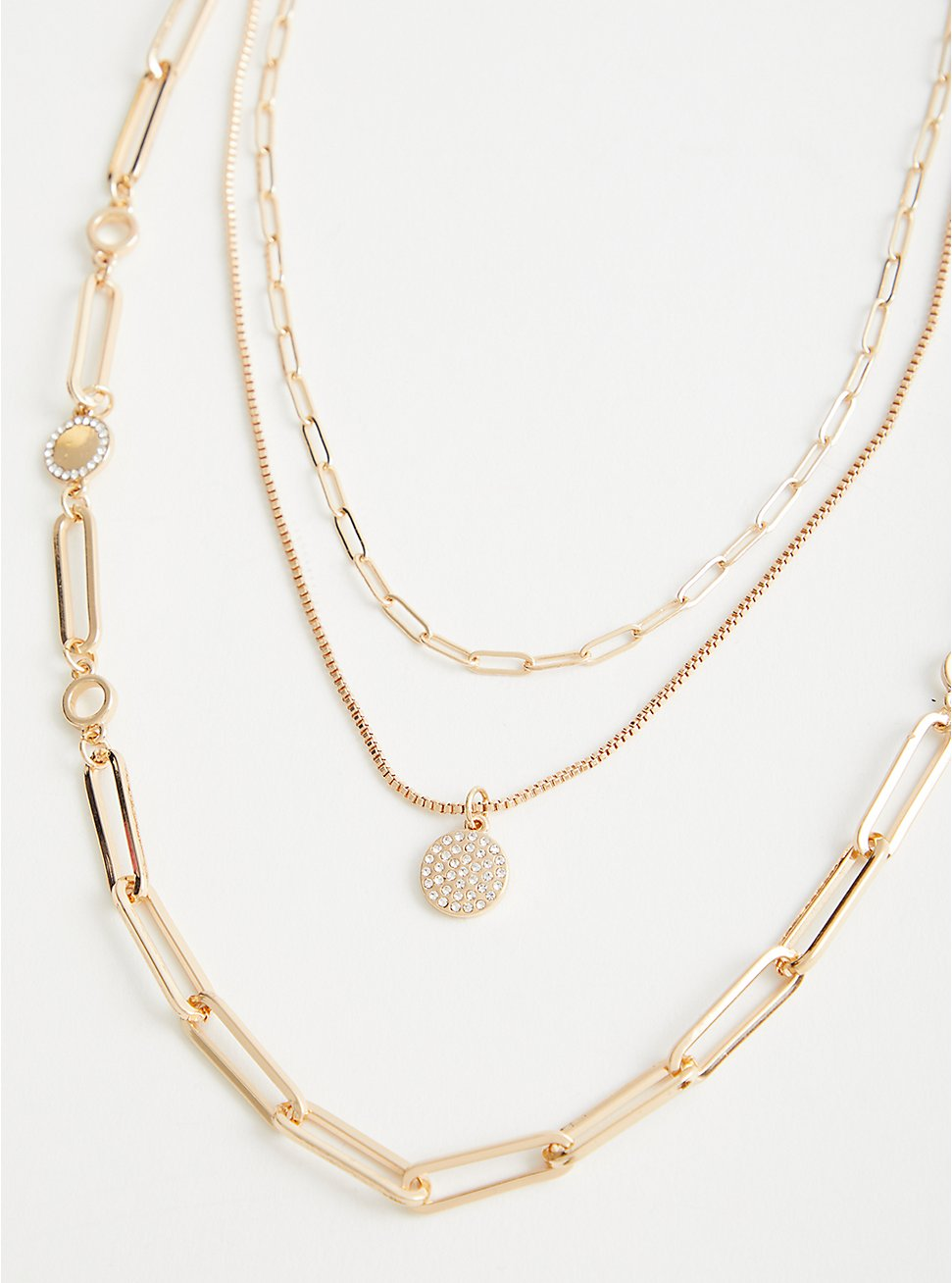 Plus Size Link With Pave Disc 3 Row Layered Necklace - Gold Tone, , hi-res