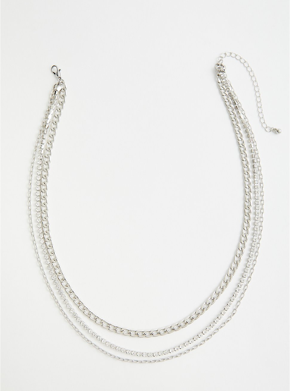 Silver Tone Rhinestone Link Layered Necklace, , hi-res