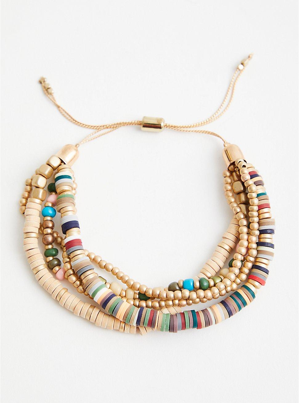 Beaded Pull Clasp Bracelet - Multi Color , , hi-res