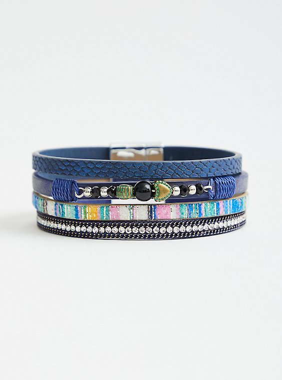 Navy Faux Snake Skin Magnetic Cuff, NAVY, hi-res