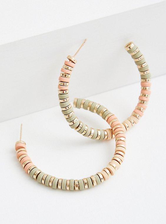Plus Size Coral Textured Hoop, , hi-res