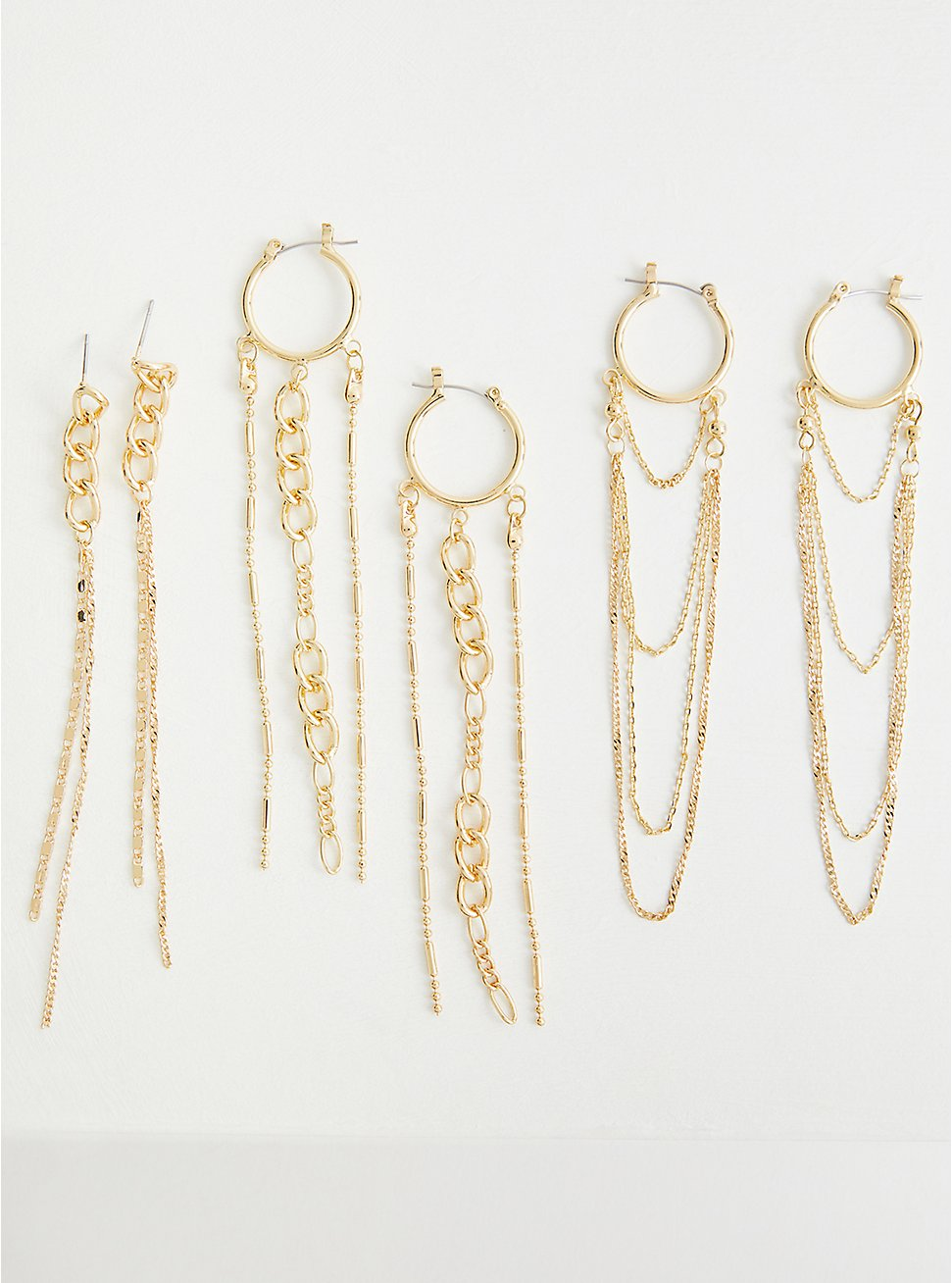 Hoop Chain Drop Earring Set - Gold Tone , , hi-res