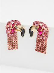 Pink Rhinestone Flamingo Earring, , alternate