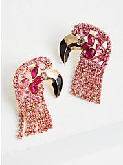 Pink Rhinestone Flamingo Earring, , hi-res