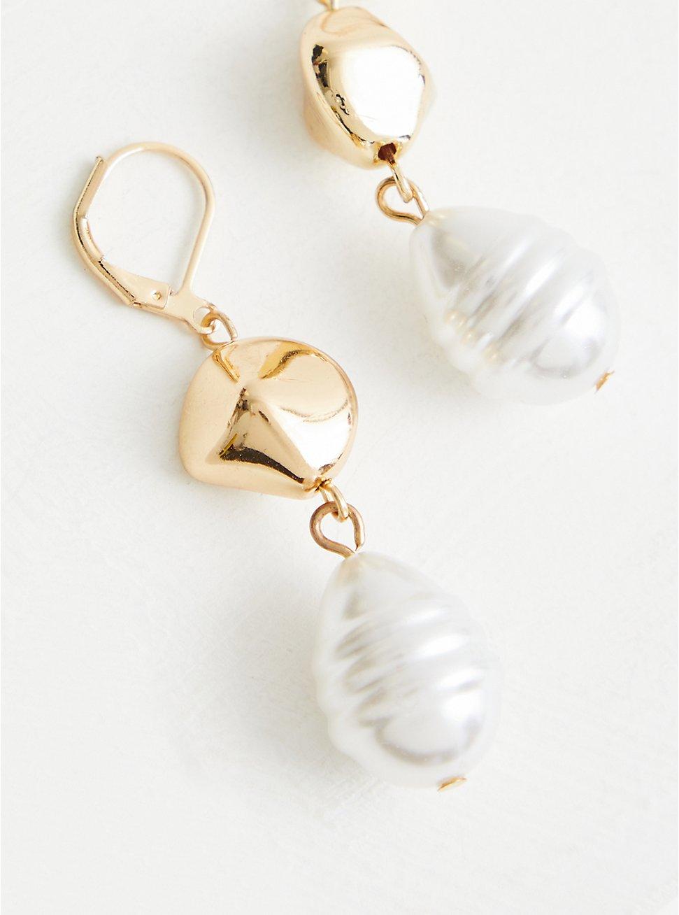 Gold Tone Pearl Drop, , hi-res