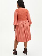 Hi-Low Skater Mini Dress - Super Soft Rusty Brown , REDWOOD, alternate