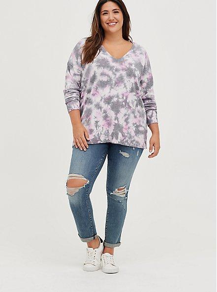 Plus Size Drop Shoulder Sweater - Pullover Tie Dye, TIE DYE, alternate