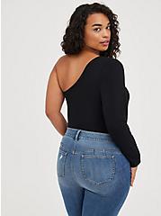 One Shoulder Sweater - Foxy Black, DEEP BLACK, alternate